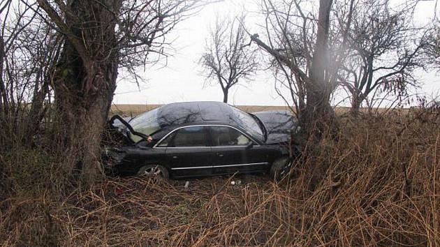 Auto se zaklínilo mezi stromy.
