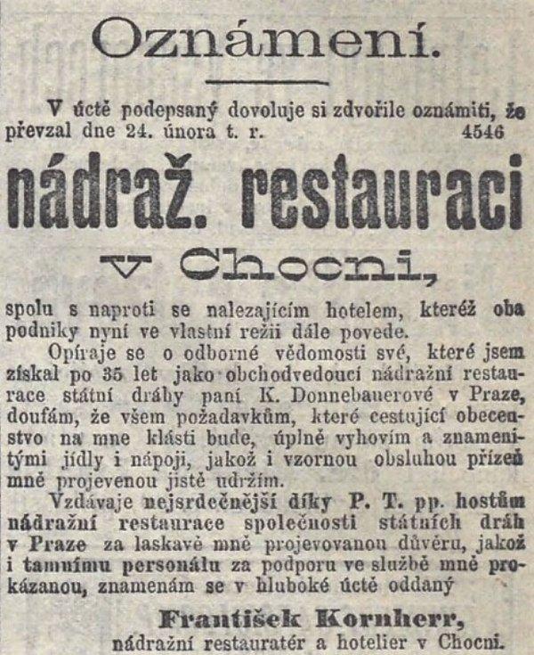 Oznámení v dobovém tisku z roku 1900, že František Kornherr převzal nádražní restauraci v Chocni.