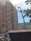 Požár panelového domu v České Třebové