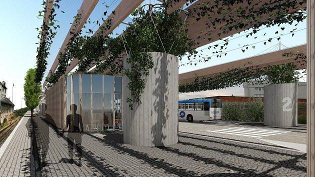 Vizualizace budoucího dopravního terminálu v Lanškrouně podle návrhu Atelieru 90.