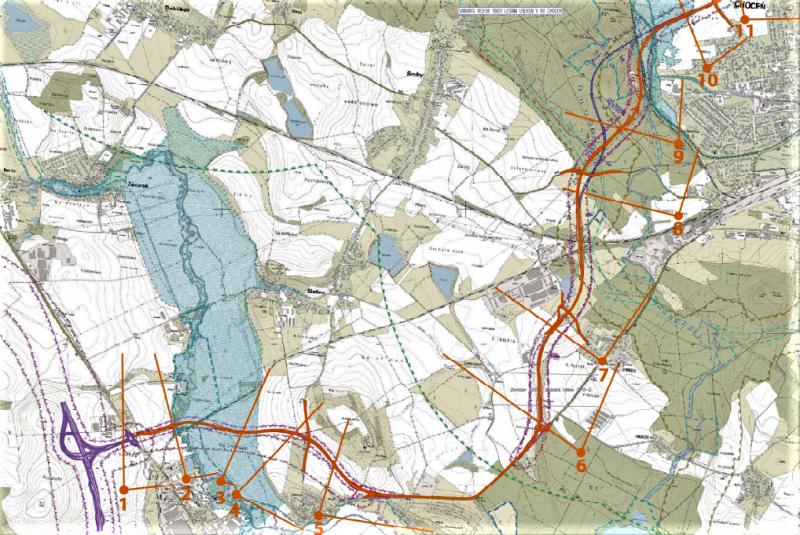 Detail trasy přeložky II/312 kolem Vysokého Mýta