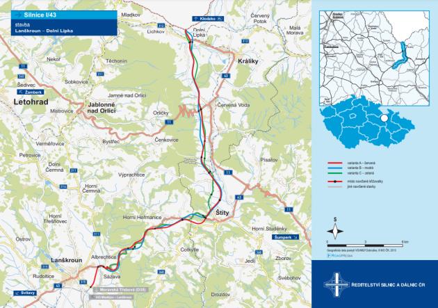 Uvažované trasy dvouproudé přeložky I/43 zLanškrouna do Dolní Lipky