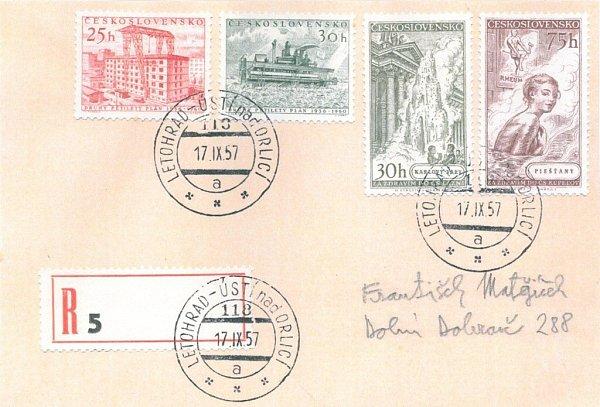 Vlaková pošta číslo 118Letohrad – Ústí n. O. 17.9.1957 doporučeně.