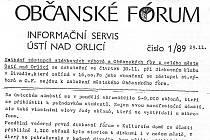Co psal Informační servis Občanského fóra v Ústí před dvaceti lety.