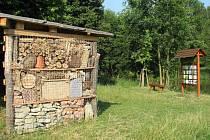 Dřeviště a hmyzí hotel v ústeckém Wolkerově údolí.