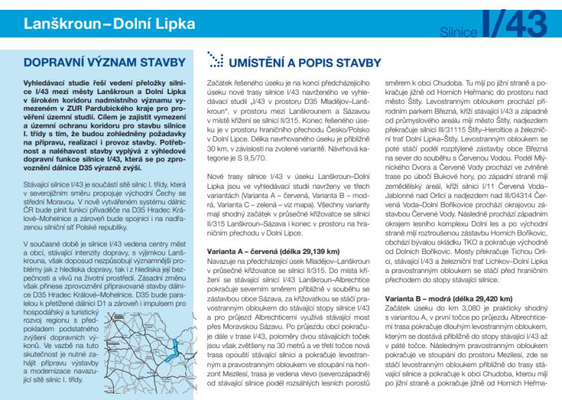 Infomateriál o plánované nové přeložce silnice I/43 v úseku od budoucí D35 u Lanškrouna do Dolní Lipky, str. 1