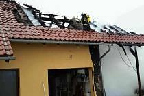 Požár domu v Záchlumí.