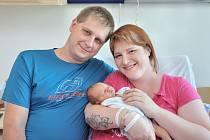 Tomáš Chaloupka je první radostí pro Moniku a Pavla z Verměřovic. S váhou 3030 g se narodil 25. 6. v 10.13 hodin.