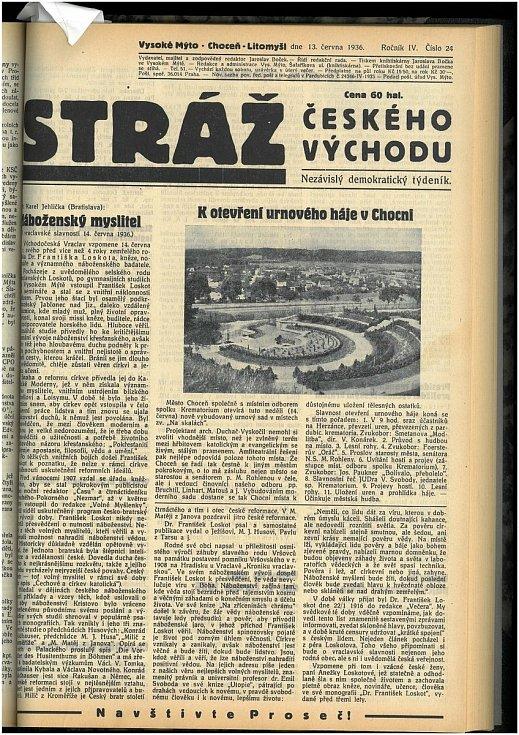 Informace z dobového tisku, Zdroj: Orlické muzeum v Chocni