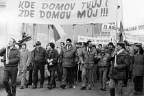 Manifestace za odchod sovětských vojsk z Vysokého Mýta.
