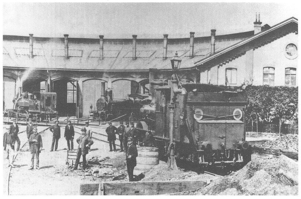 Výtopna v Chocni v roce 1889.