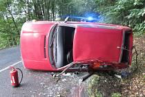 Havárie osobního automobilu na Lanšperku.
