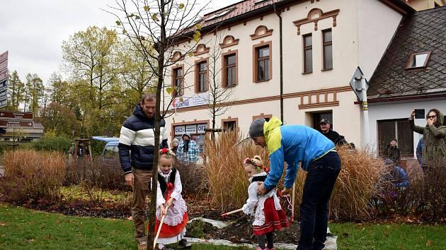 Lípu na letohradském Náměstí svobody zasadili biatlonisté s dcerami.