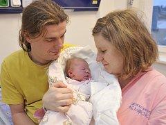 Amálie Trkalová je první radostí pro manžele Emílii a Lukáše z Říček. Narodila se jim 1. ledna v 11.54 hodin s hmotností 3,69 kg.