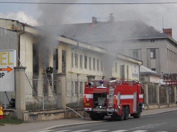 Požár bývalé galvanovny v Lanškrouně.
