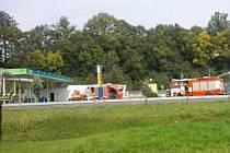 Požár na čerpací stanici v České Třebové-Lhotce.