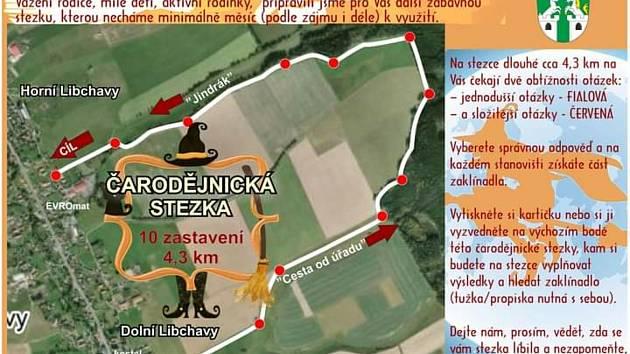 Mapka stezky: obec Dolní Libchavy