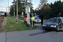 Dopravní nehoda na železničním přejezdu v Letohradě.
