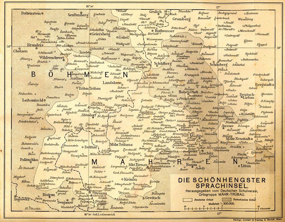 Mapa někdejšího Hřebečska (Schönhengstgau).