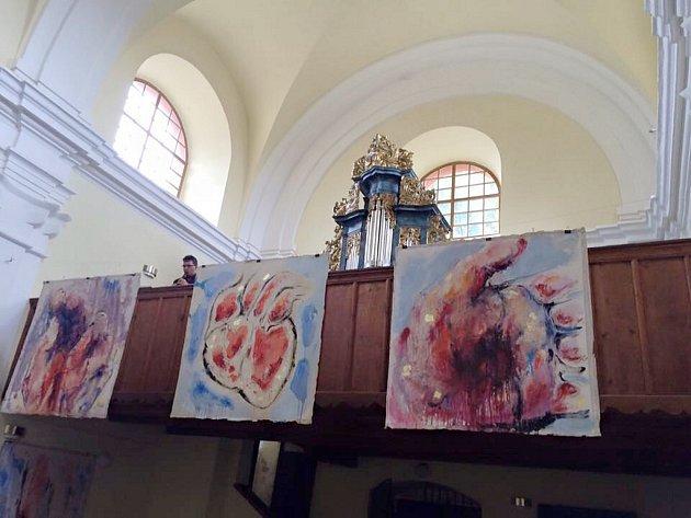 Obrazy akademického malíře Pavla Šlegla v kostele sv. Anny v Lanškrouně.