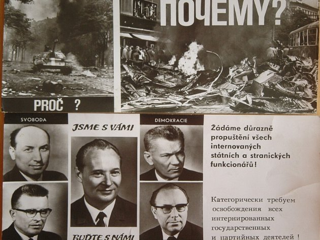 Také ústecké muzeum sbírá doklady o roce 1968 (na snímku dobové pohlednice).