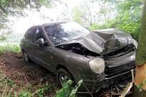 Havárie osobního automobilu u Libchav.