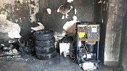 Požár dílny ve Džbánově.