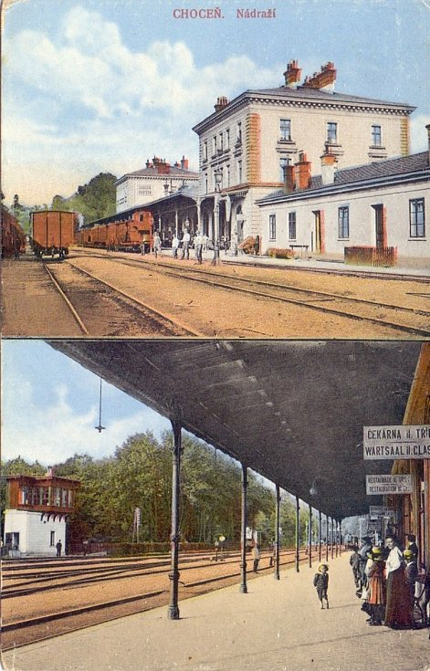 Dobová pohlednice choceňského nádraží a nádražní restaurace z roku 1911.