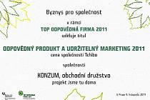 Ocenění pro obchodní družstvo Konzum.