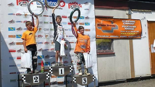 V nejmladší kategorii do 65 ccm zvítězil Jiří Merganc z Doudleb nad Orlicí.