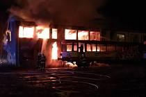 Požár mechanizačního střediska na nádraží v České Třebové