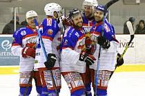Kohouti se radují ze vstřelené branky proti Slovanu.