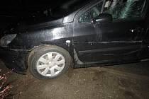 Následky dopravní nehody v Němčicích, od které se řidička snažila utéct.