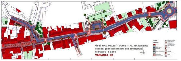 Schválená varianta C2 rekonstrukce ulice T. G. Masaryka: