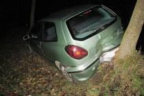 V obci Libecina havaroval vůz zn. Fiat Bravo.
