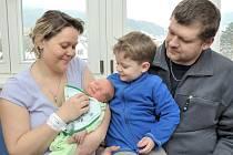 Jan Kuchta rozšířil rodinu Ivety a Petra z Němčic. Když se 29. 1. ve 12.27 narodil, vážil 3,57 kg. Doma se na něj těší i bratříček Péťa.