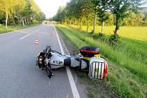 Havárie motocyklu u Lichkova.