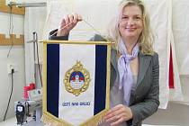 Vlaječka firmy Velebný & Fam vyrobená pro prezidenta. tu.