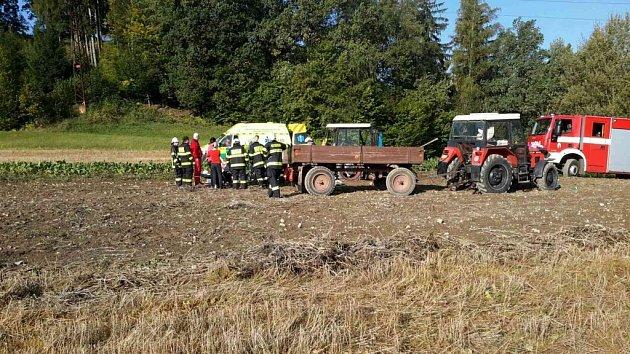 VJablonném nad Orlicí došlo na poli kvážnému zranění chlapce. az chlapec.