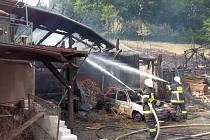 Požár v Jamném nad Orlicí.