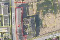 Na plánu je červenou barvou vyznačena část administrativní budovy Perly 01, která se prodává.