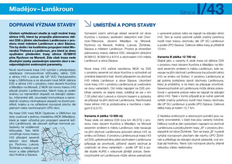 Infomateriál o plánované nové přeložce silnice I/43 v úseku od budoucí D35 u Mladějova k Lanškrounu