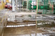 Deštěm poničené zázemí SOUo Králíky.