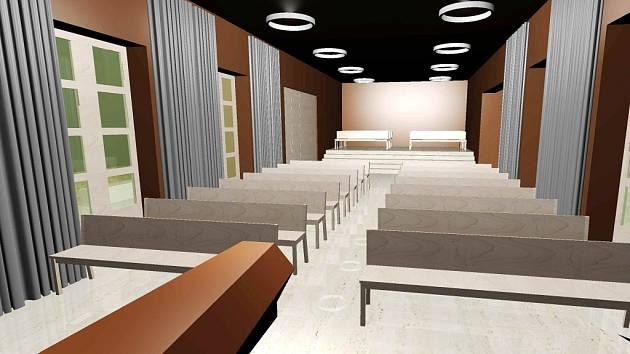 Návrh nové smuteční síně v Lanškrouně, jeho autorem je městský architekt Přemysl Kokeš.