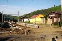 Železniční stanice na Lanšperku během rekonstrukce tratě z Ústí nad Orlicí do Letohradu.