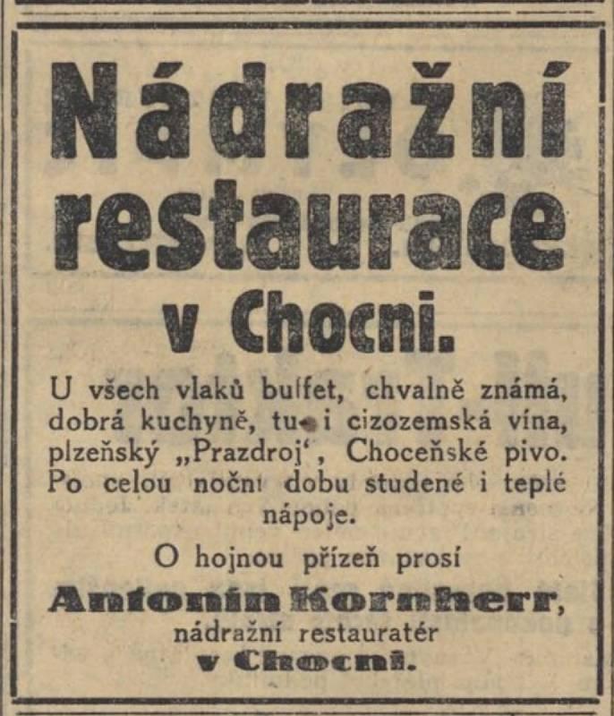 Dobový inzerát choceňské nádražní restaurace z roku 1928.