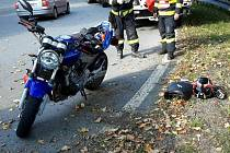 Dopravní nehoda motorkáře u Jablonného nad Orlicí.