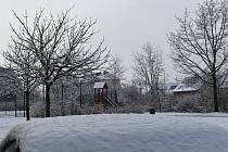 Zasněžené ráno 19. března 2021 v Ústí nad Orlicí.