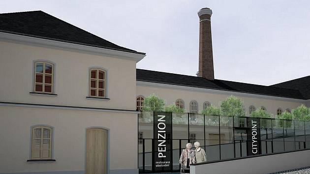 Návrh rekonstrukce hospodářského zázemí zámku v Žamberku mimo jiné na domov pro seniory a společenský sál.