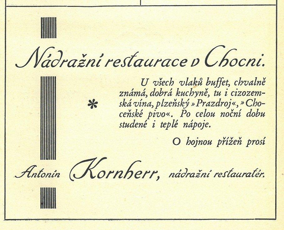 Dobový inzerát nádražní restaurace z období první republiky.